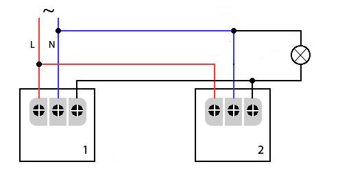 Рис 3. Схема подключения датчиков движения для освещения лестницы