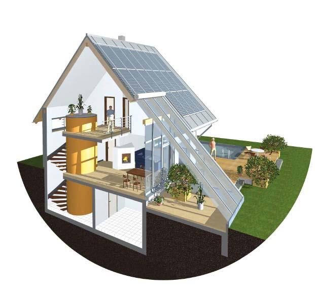 Рис № 5. Энергосберегающий пассивный дом, с использованием солярия
