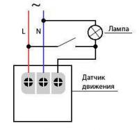 Рис №7. Схема подключения датчика движения с дублирующим выключателем
