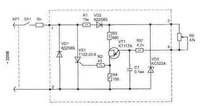 Рис №1 Схема принципа работы терморегулятора мощности для паяльника
