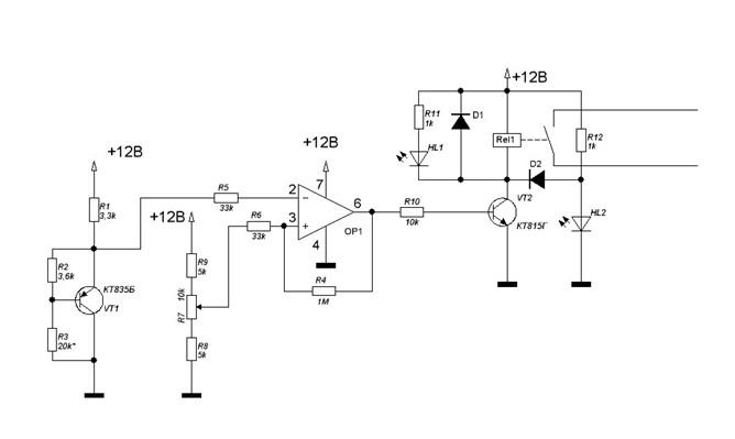 Рис. Схема температурного регулятора на основе биполярного трехэлектродного транзистора