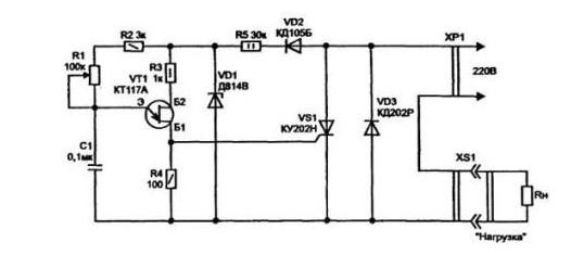 Рис №4. Одна из простейших схем тиристорного регулятора