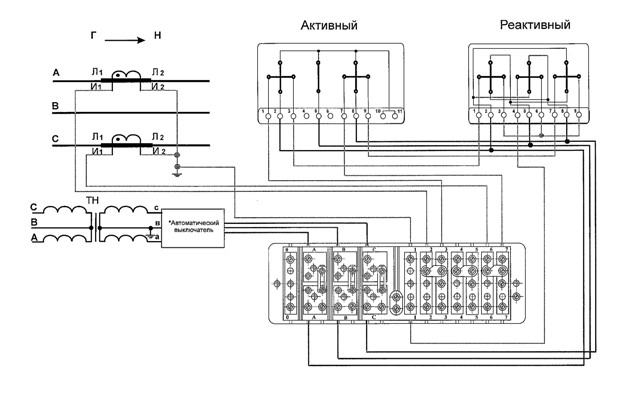 Рис №10. Схема присоединения 3-фазных 2-элементных счетчиков, измеряющих активную и реактивную мощность с использованием измерительных ТТ для 3-проводной сети высокого напряжения с помощью, обеспечивающей безопасное обслуживание испытательной коробки.