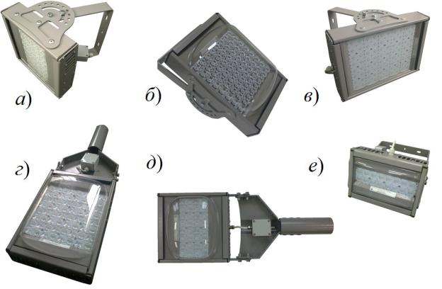 Рис №1. Внешний вид светодиодных светильников. а)светильник с глубокой КСС; б) прожектор, концентрирующий КСС; в) светильник с косинусной КСС; г, д) светильники с широкой КСС; е) светильник кососвет.