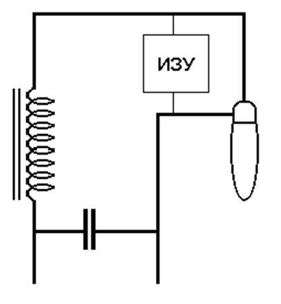 Рис 1. Схема включения балласта для газоразрядной лампы с применением ИЗУ