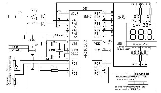 Рис. Схема простого терморегулятора