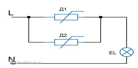 Рис №2. Схема параллельного подключения двух механических диммеров, используемых в качестве проходного устройства