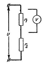 Рис. №1. Схема подключения вольтметра в электрическую сеть.