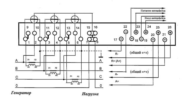 Рис №1. Схема включения 3-элментного Меркурия 230А в электросеть с четырьмя проводами.