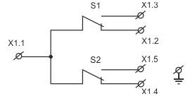 Рис. №2. Принципиальная электрическая схема концевых выключателей КВ-01, КВ-02.