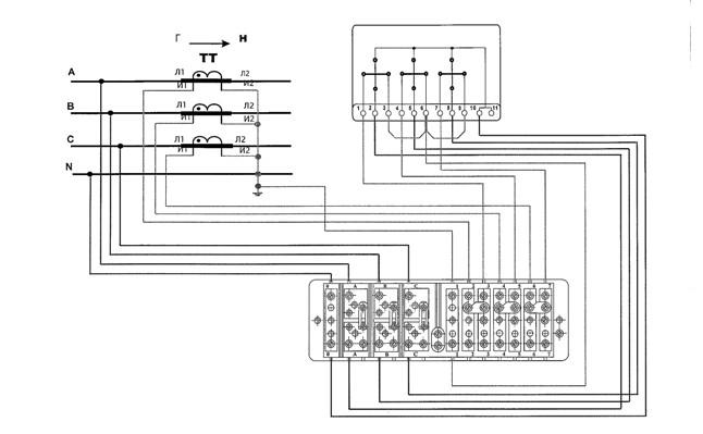 Рис№4. Монтажная схема соединения счетчика через испытательную коробку.