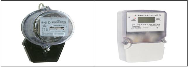 Рис. 1 Индукционный электросчетчик               Рис. 2 Электронный электросчетчик