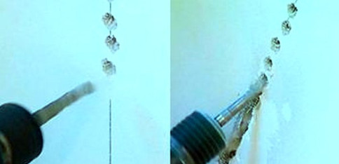 Рис. 5. Перфоратор или дрель при устройстве штробы
